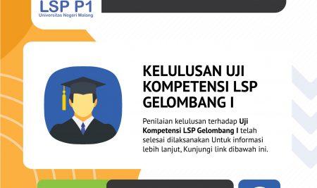 Pengumuman Kelulusan Uji Kompetensi Gel. 1 Tahun 2019